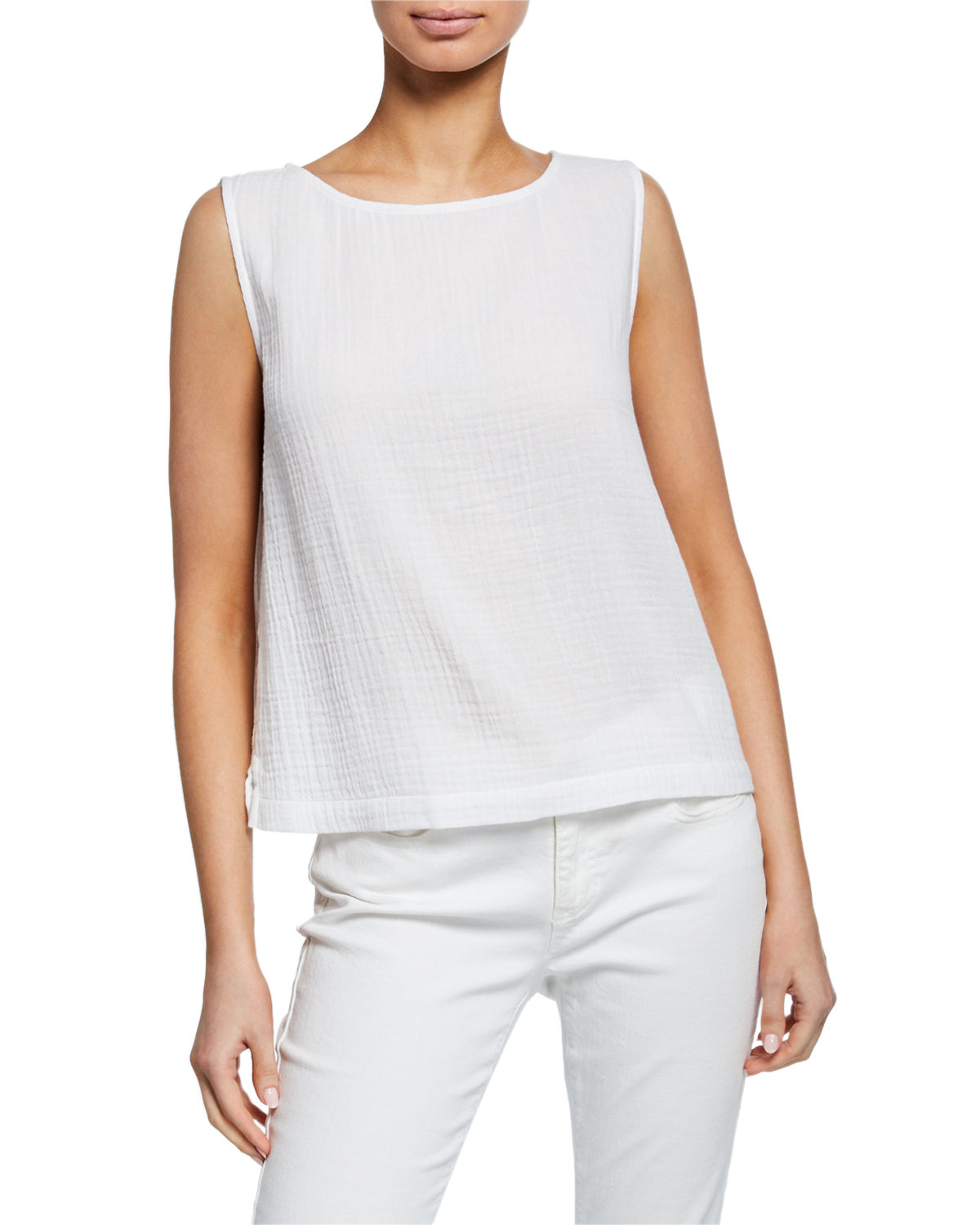 Eileen Fisher Tops COTTON GAUZE A-LINE SHELL