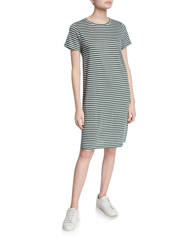 Jersey Stripe Crewneck Short-Sleeve Organic Linen Shift Dress