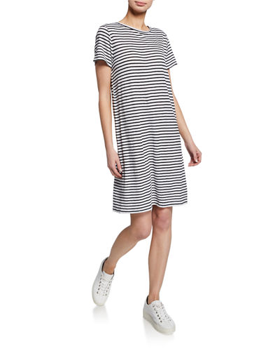Petite Jersey Stripe Crewneck Short-Sleeve Organic Linen Shift Dress