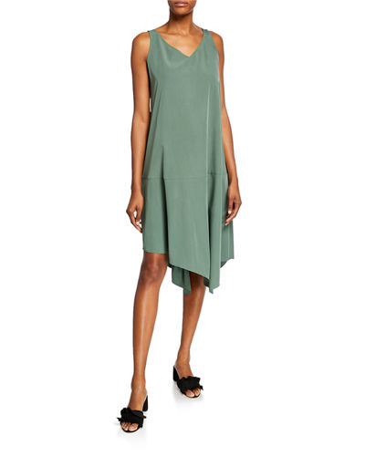 Sandwashed V-Neck Sleeveless Asymmetric Shift Dress