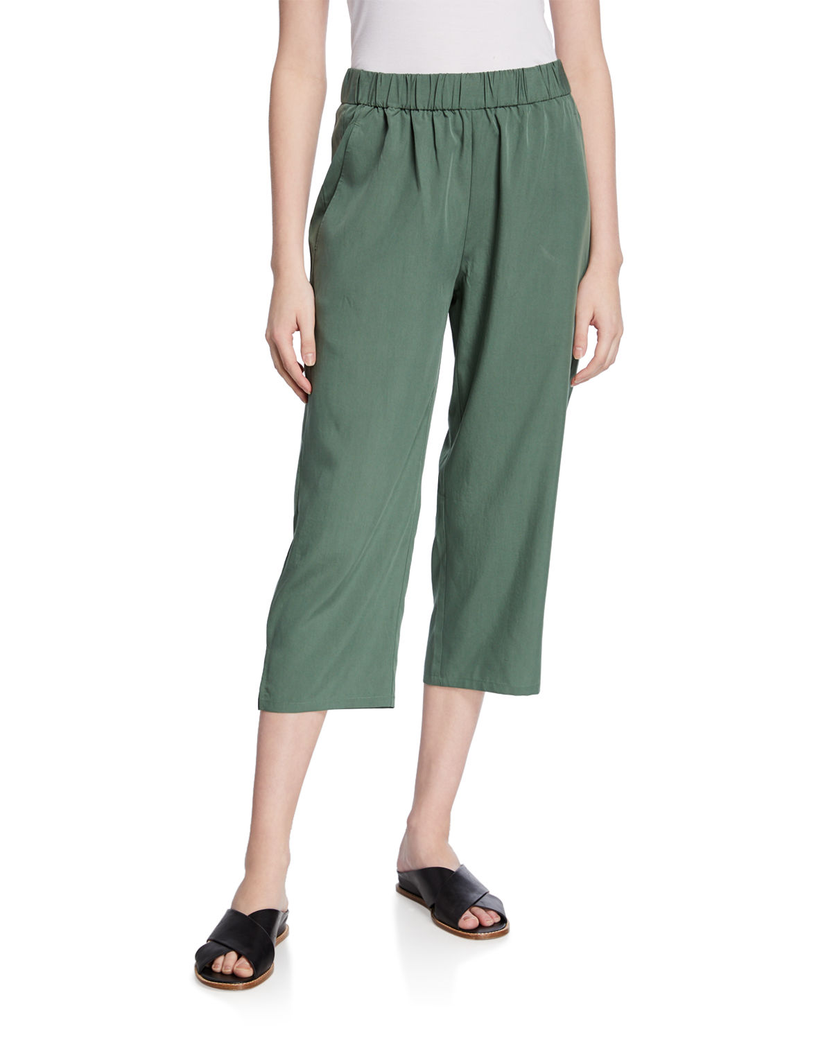 Eileen Fisher Pants SANDWASH SLOUCHY STRAIGHT-LEG CROP PANTS