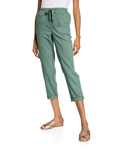 Organic Cotton Twill Drawstring Ankle Pants