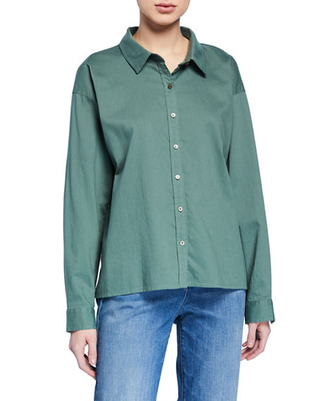 Eileen Fisher Button-Down Long-Sleeve Organic Cotton Twill Shirt
