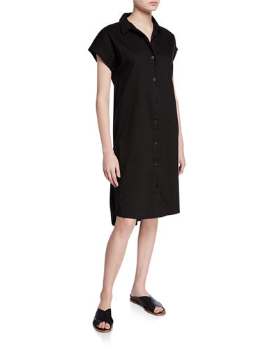 Button-Front Cap-Sleeve Organic Cotton Twill Shirtdress