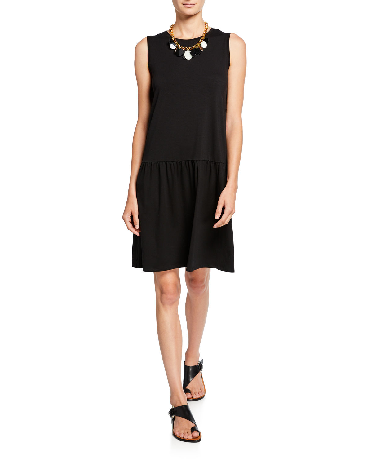 Eileen Fisher Dresses PETITE DROP-WAIST SLEEVELESS JERSEY DRESS