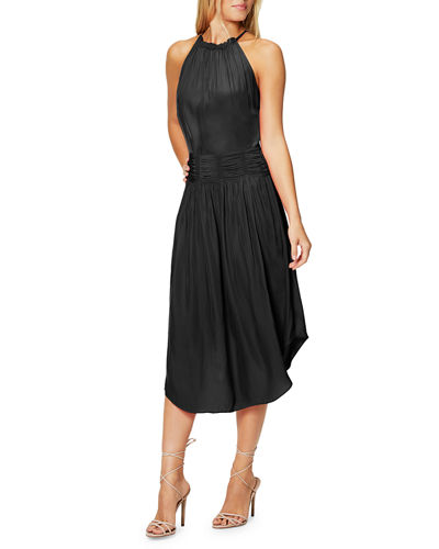 Ramy Brook Marti Shirred High-Neck Cocktail Dress