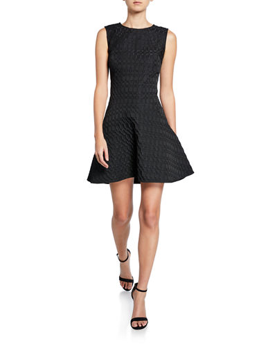 Textured Geometric Jacquard Sleeveless Fit-and-Flare Dress