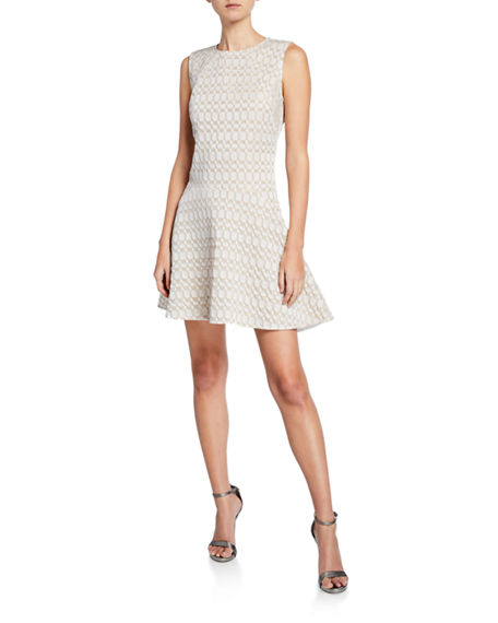 Josie Natori Textured Geometric Jacquard Sleeveless Fit-and-Flare Dress