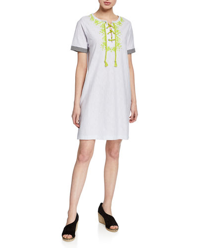 Beach Beyond Striped Lace-Up Short-Sleeve Dress w/ Embroidery