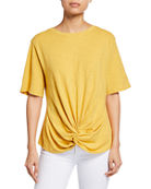 Lisa Todd Tongue Twister Short-Sleeve Slub Cotton Tee