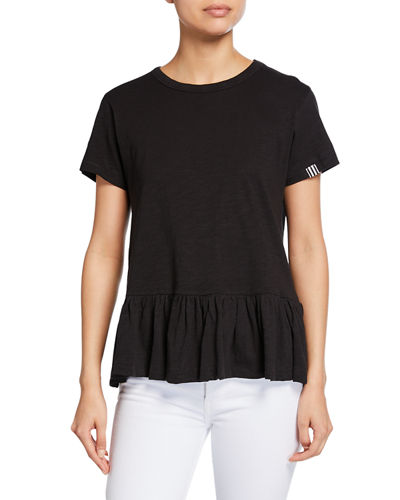 Pleats Please Short-Sleeve Peplum Slub Tee