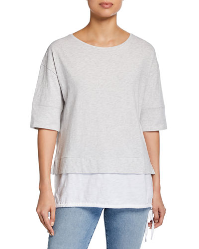 Plus Size Forever Young Slub Cotton Layer Tee w/ Side-Tie Detail