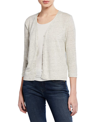 Button-Front 3/4-Sleeve Stretch-Linen Cardigan