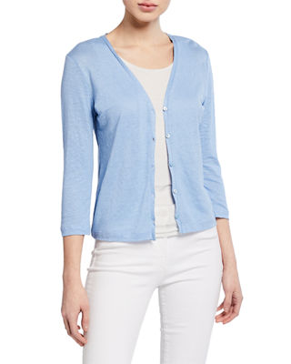Button Front 3/4 Sleeve Stretch Linen Cardigan by Majestic Paris For Neiman Marcus