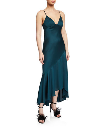 V-Neck Spaghetti-Strap Asymmetric Bias-Cut Slip Dress