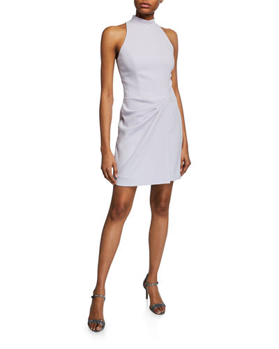 Sleeveless Mock-Neck Drape-Front Mini Dress