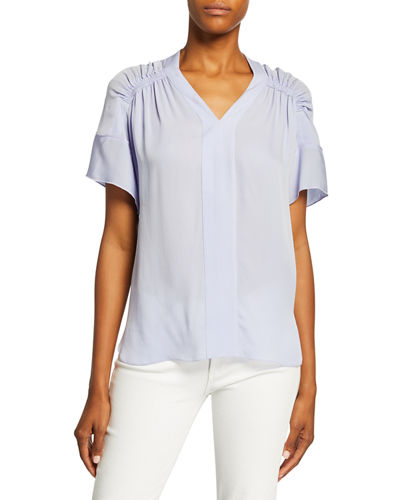 Elvin V-Neck Short-Sleeve High-Low Silk Blouse