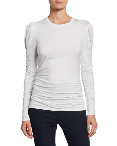 Daisy Crewneck Ruched Long-Sleeve Knit Top