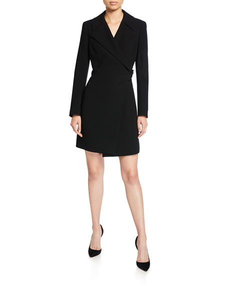 Elie Tahari Charlotte Long-Sleeve Mini Dress with Notch Collar