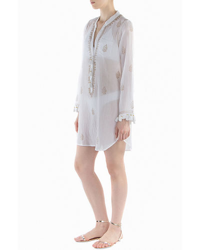 Flora Bella Navigator Button-Up Long-Sleeve Tunic w/ Fringe