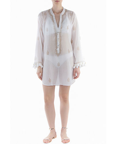 Navigator Button-Up Long-Sleeve Tunic w/ Fringe
