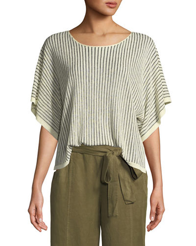 Petite Short-Sleeve Vertical Striped Organic Sweater
