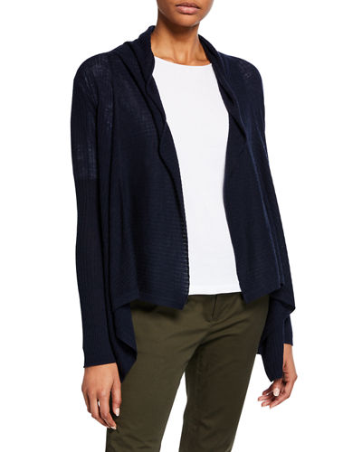 Ribbed Drape-Front Wool-Cashmere Cardigan