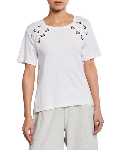 Short-Sleeve Cotton Interlock Swing Top w/ Lacing Detail