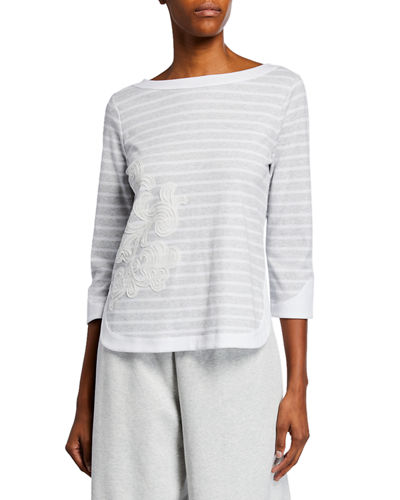 Striped 3/4-Sleeve Cotton Interlock Top with Zip Back & Floral Applique