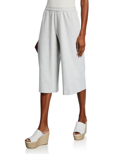 Stretch Interlock Cropped Wide-Leg Pants
