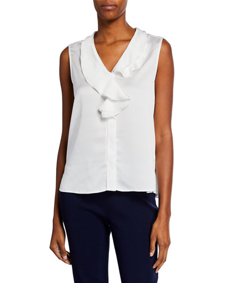 Misook V-Neck Ruffle Waterfall Sleeveless Crepe de Chine Blouse