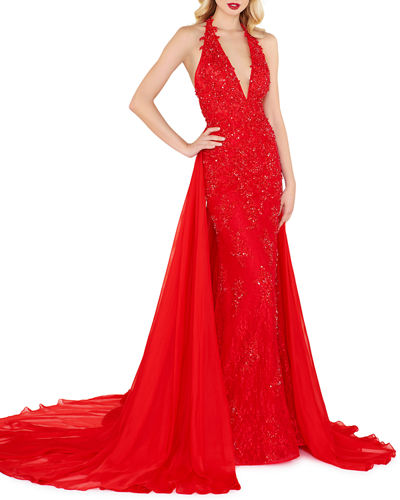 15dea111fb Quick Look. Mac Duggal · Cape-Back Lace Halter Gown. Available in Red ...