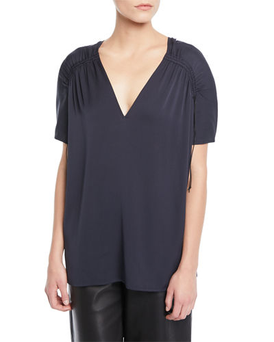Shirred Short-Sleeve V-Neck Top