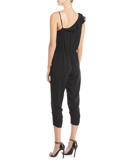 Image 2 of 3: Parker Addison Sleeveless Ruffle Cropped Straight-Leg Jumpsuit