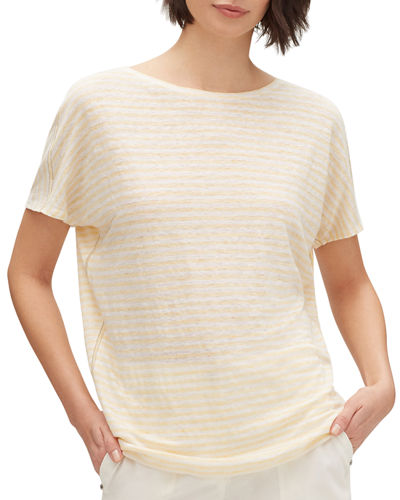 Gordon Lugano-Stripe Short-Sleeve Linen Top