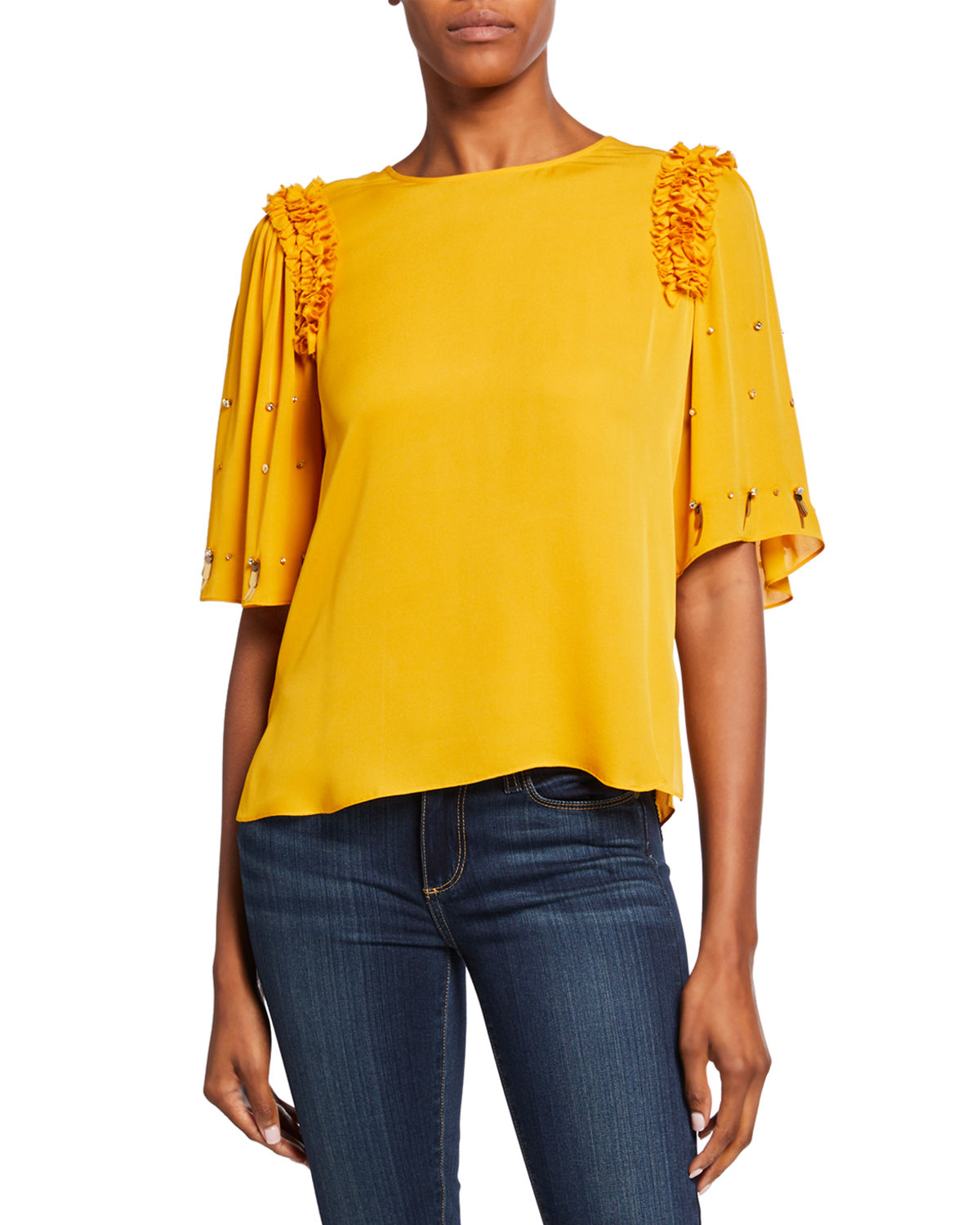 Kobi Halperin Tops KRISSY EMBELLISHED ELBOW-SLEEVE SILK BLOUSE