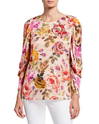 Hailee Floral Jewel-Neck Puff-Sleeve Blouse