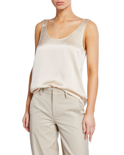 Scoop-Neck Silk Satin Tank Top