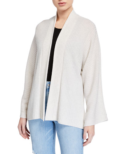 Open-Front Ribbed Cardigan with Split Panel