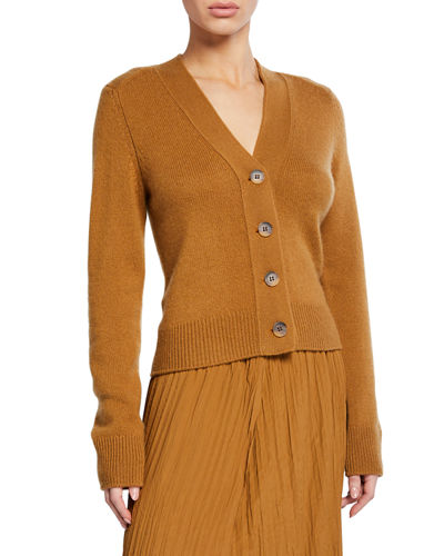 Button-Front Shrunken Cashmere Cardigan