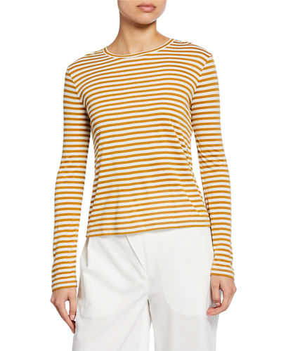 Midi Stripe Long-Sleeve Crewneck Tee