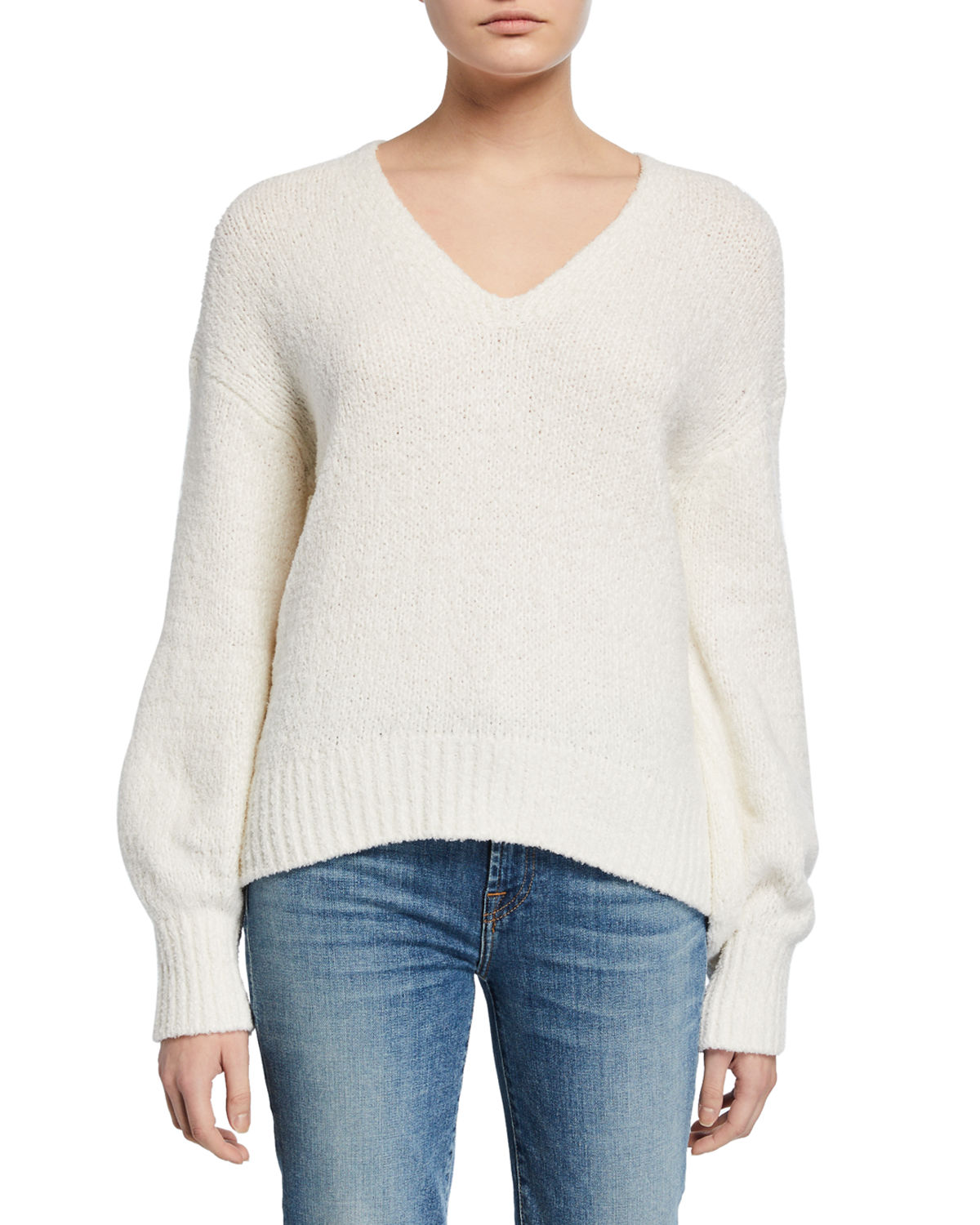 Vince Tops TEXTURED V-NECK LONG-SLEEVE TOP