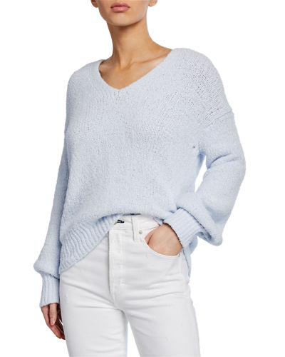 Textured V-Neck Long-Sleeve Top