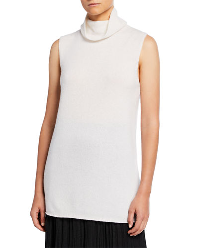 Sleeveless Ribbed Funnel-Neck Cashmere Top