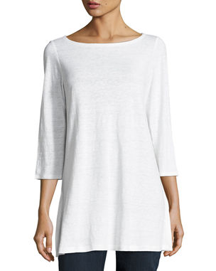 87877dd79aec Eileen Fisher Plus Size 3 4-Sleeve Organic Linen Jersey Tunic