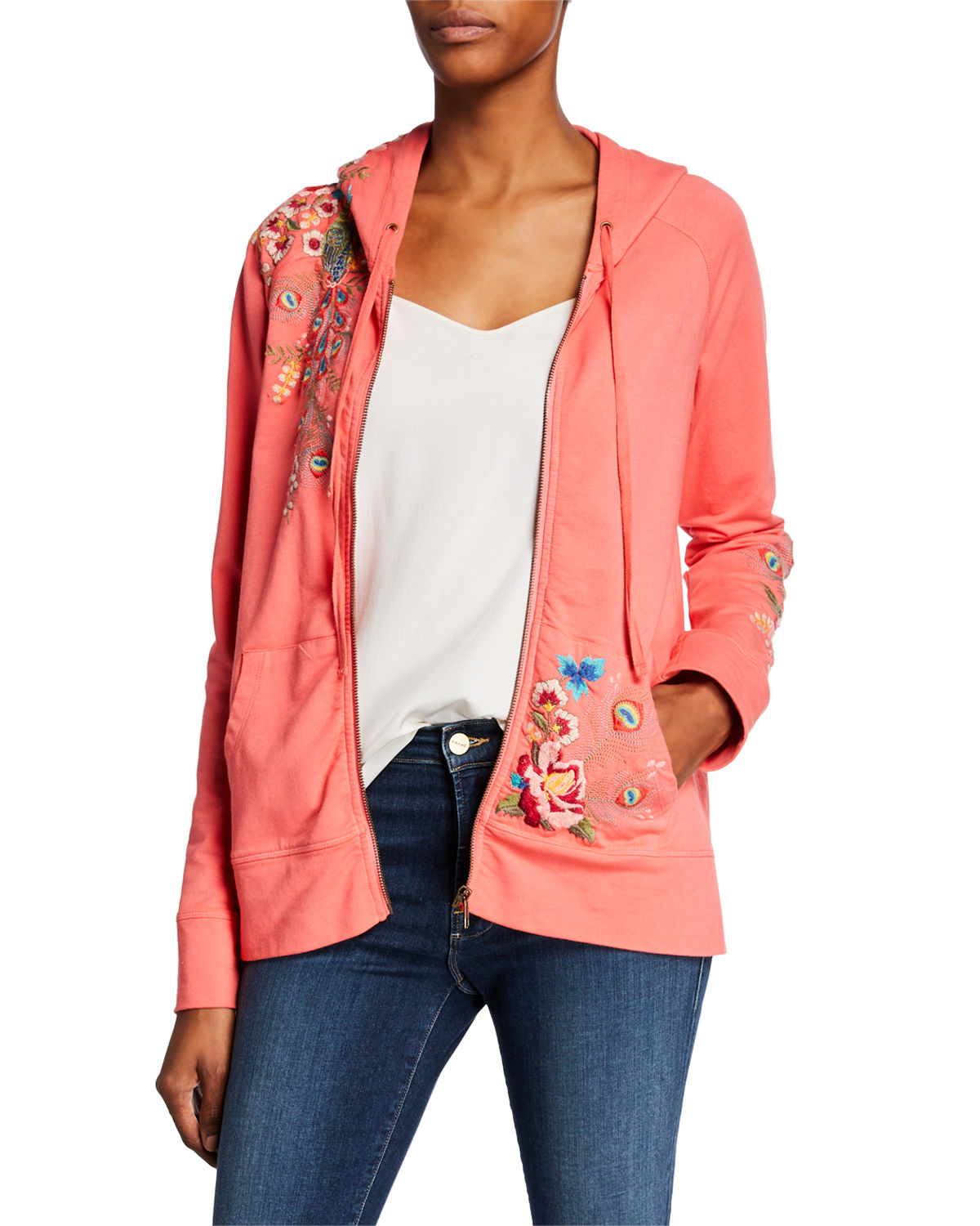 Johnny Was Jackets PETITE VERNAZZA EMBROIDERED ZIP-FRONT HOODIE JACKET