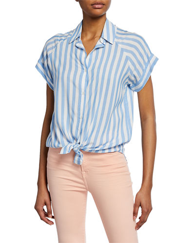 5801e7beed5 Quick Look. 7 For All Mankind · Striped Button-Down Short-Sleeve Tie-Front  Shirt