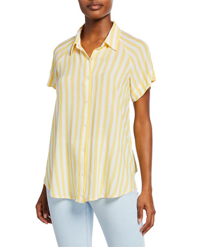 Striped Button-Down Short-Sleeve Tie-Front Shirt