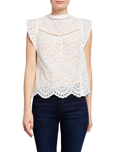 Crewneck Sleeveless Eyelet Crop Top