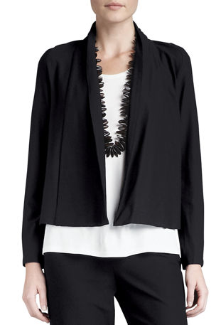Eileen Fisher Washable-Stretch Crepe Short Jacket